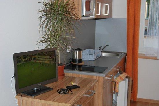 Vsetin, Czech Republic: Мини-кухня и ТВ