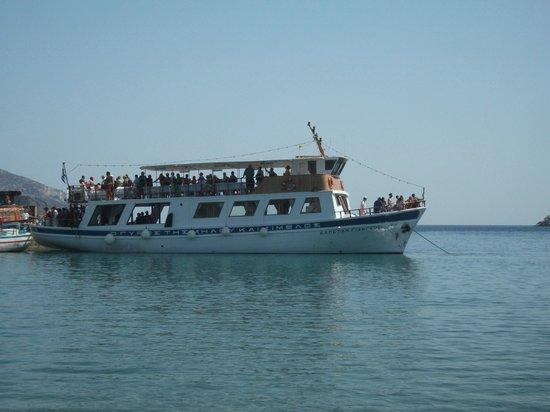 To Kyma: Dat trip boat from Naxos docking
