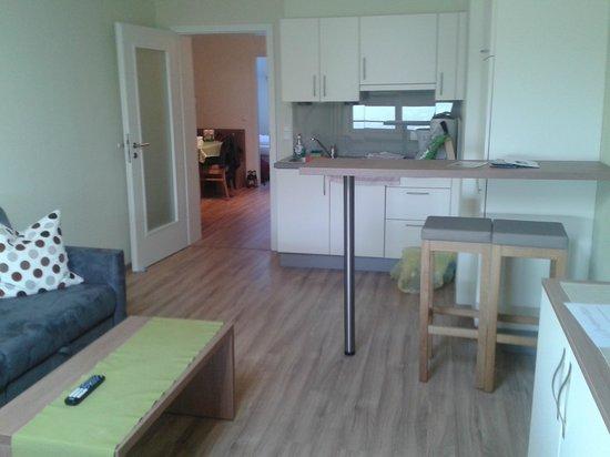 Hoelbinger Alm: Salone vista cucina
