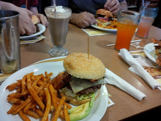 Denny's: Yummy burger, seasoned fries, choc and peanut buttter shake