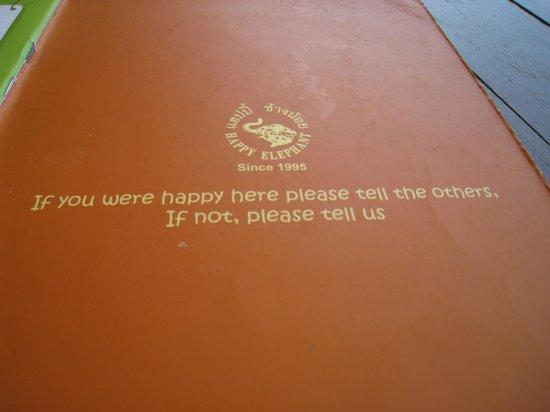 Happy Elephant: Menu