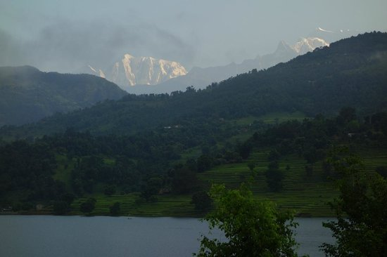 Begnas Lake Resort: View of Annapurna range at sunrise from room.