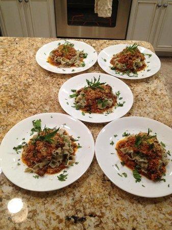 Vinny & Cheryl's Italian Kitchen : Fresh Basil Pasta with Bolognese Sauce