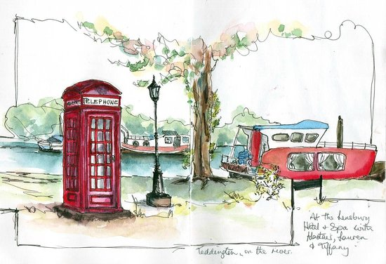 The Lensbury: Sketch at the bottom of the garden, overlooking the river.