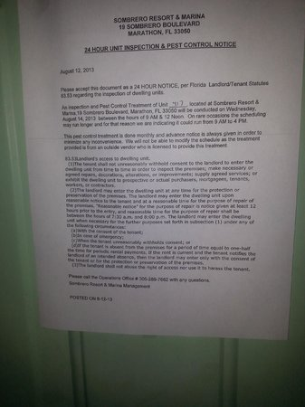 Sombrero Resort & Marina: Note about pest control visit.