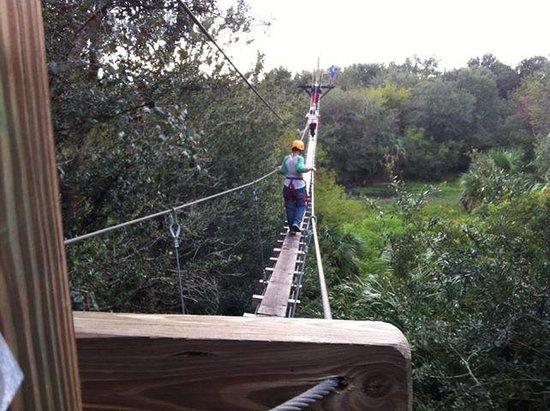 Zip Orlando: Crossing one fo the suspension bridges!