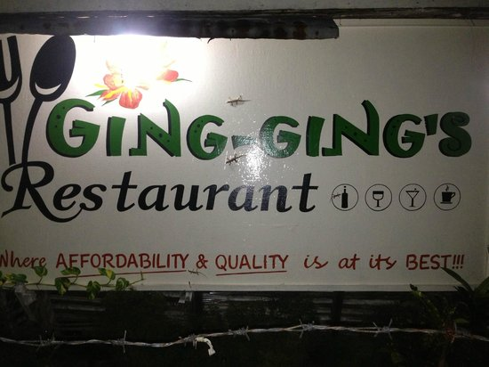 Ging-Ging's Restaurant & Flower Garden: Ging-Ging's main sign board