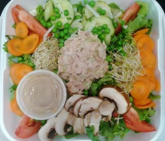 Signe's Bakery & Cafe : Super Salad from Signe's. I ate the cookie before I could take a picture!