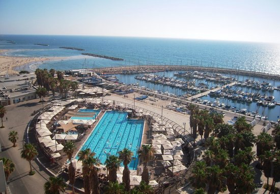 Carlton Tel Aviv: View from our room facing the Tel Aviv Marina and the Gordon Pool