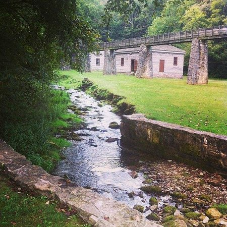 Spring Mill State Park: Stream and flume near the grist mill, in pioneer village