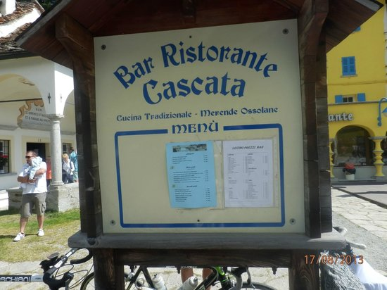 Cascata del Toce: restaurant menù