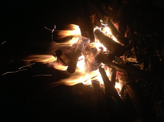 Beach House Rentals: A late night fire, in the fire pit provided.