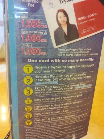 Toyoko Inn Shin-Osaka Chuoguchi  Honkan: Membership benefits