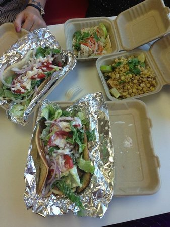 Andrae's Kitchen : Gyros, corn salad, and fish taco (lunch w my girls!)