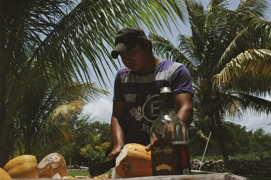Hotel Puerto Holbox: Freddy, chopping up some coconuts for our rum