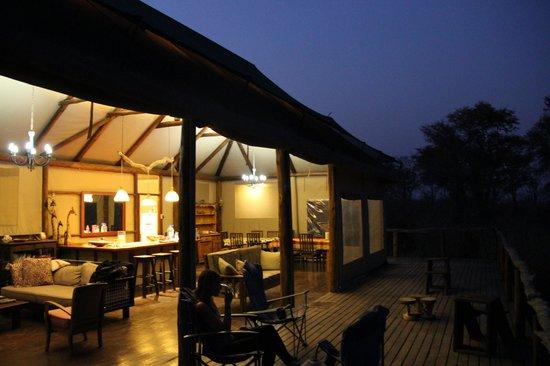 Kapula Private Camp: Main Tent at Night