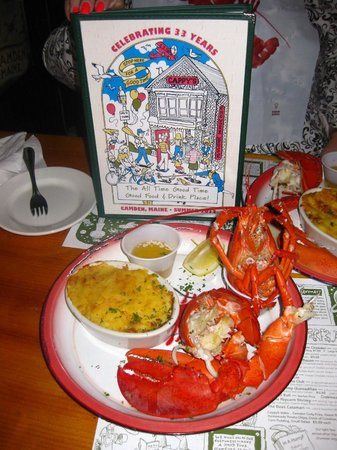 Lobster dinner with delicious corn casserole, Cappy's Chowder House, Camden, ME