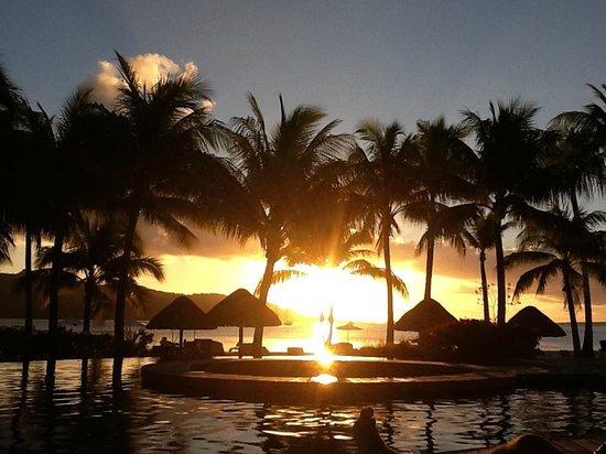 Four Seasons Resort Bora Bora: Sunset by the pool at Four Seasons in Bora Bora