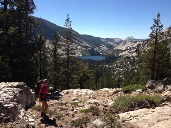 Yosemite High Sierra Camps: Hike down to Merced Lake with Half Dome in the background
