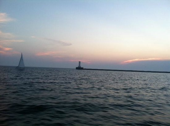 Spirit of Buffalo - Buffalo Sailing Adventures : View of lighthouse and sailboat from the Spirit of Buffalo