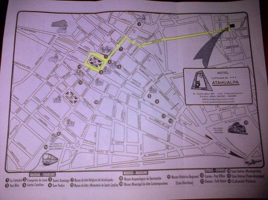 La Posada de Atahualpa: Mapa de ubicación del hotel (Av. Recoleta con Jr. Atahualpa)