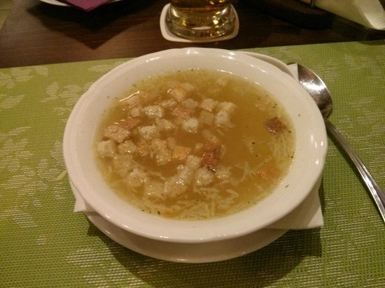 """Zlata Ulicka: Czech """"cesnecka"""" - garlic soup - is not for the faint of heart.  Make sure your date has some to"""