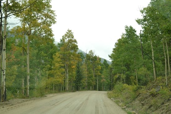Cottonwood Lake: The washboard road (and aspens beginning to change) - September