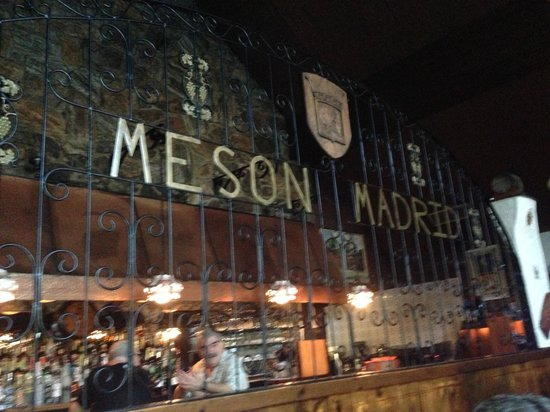 Meson Madrid Sign Inside Restaurant