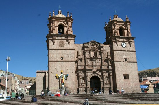 Santa Maria Inn Puno: Puno's cathedral is interesting.  Lots of local references in the stonework.