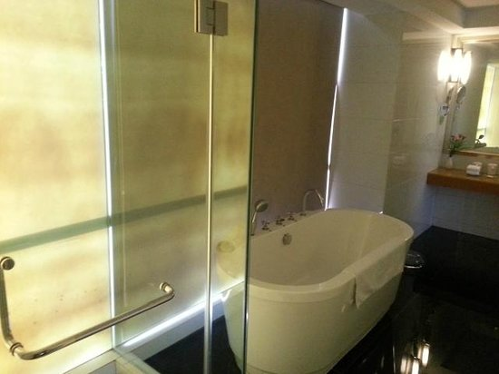 Leeden Hotel: bathroom, shower + deep bathtub