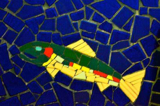 Angry Trout Cafe: Fish Mosaic on Washroom Wall