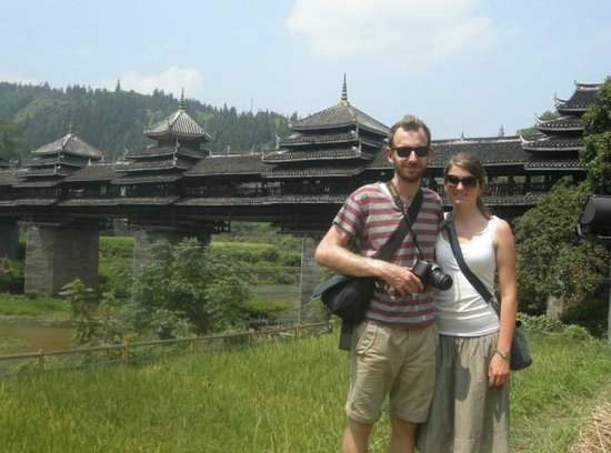 Yangshuo Private Tour-Day Tour: My clients at Sanjiang Chengyang bridge.