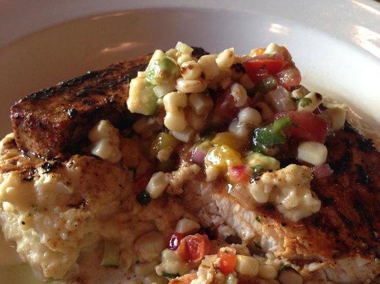 Kill Devil Grill: Blackened Swordfish with Avocado Salsa on creamy Polenta