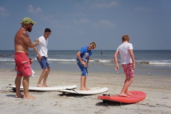 North Island Surf and Kayak: beginning of lesson
