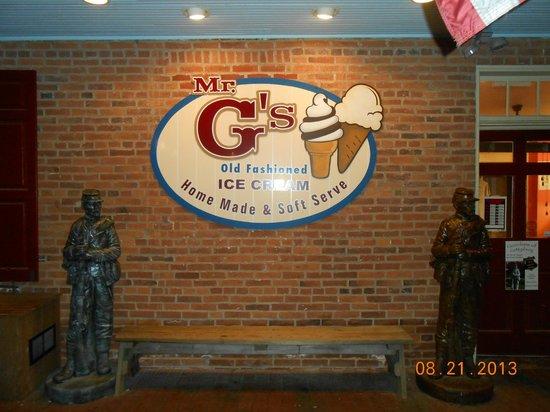 Mr. G's Ice Cream: Store sign off Baltimore St.