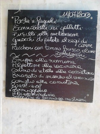 Osteria del Velodromo Vecchio : Menu of the day