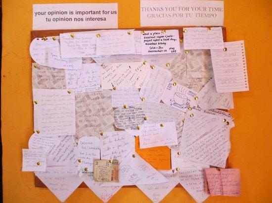 Chivay, Peru: Mensajes dejados por los turistas