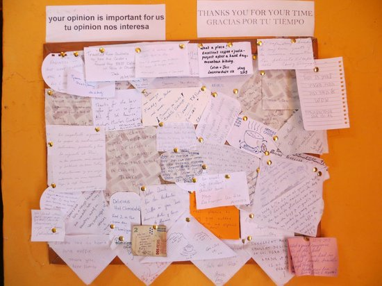 Aromas Caffee: Mensajes dejados por los turistas