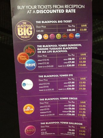 Premier Inn Blackpool (Beach) Hotel: Premier Inn pricelist for attractions (picked up 24/08/13)