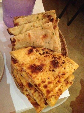 Indian Delights: chili naan and garlic nan. perfect!