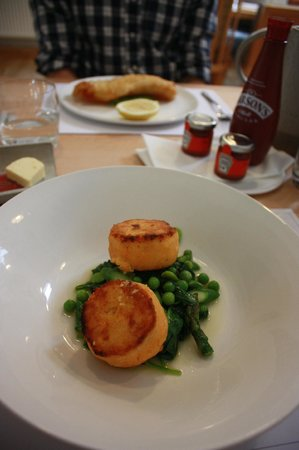 Loch Fyne Oyster Bar Cairndow: Salmon Fishcake and Haddock with Chips in a background