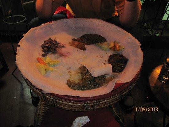 Addis in Dar : served on injera