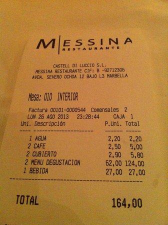 Restaurante Messina: pues eso, barato no es
