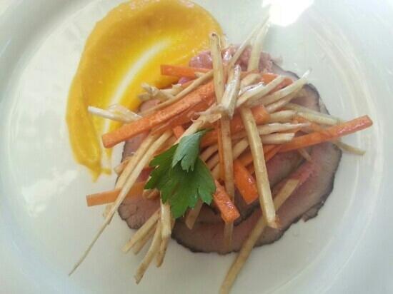 Badia di Coltibuono: Beef round marinated in red wine with celeraic, carrot and mustard seed puree. -  Brilliant!