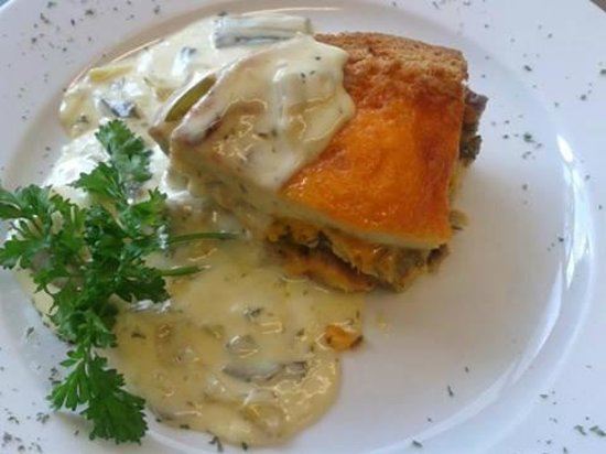 The Old Ford Inn: Red Leicester and Leek Bread and Butter Pudding