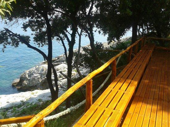 Hostel Katerina: wooden platform just beneath the hostel garden