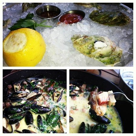 Mussel Bar & Grille: Oysters and Mushroom Bacon Mussels