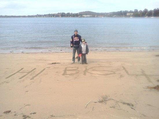 BIG4 Batemans Bay at Easts Riverside Holiday Park: my brother and my son liam saying hello to big 4 batemans bay