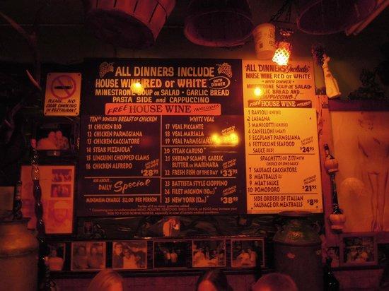 Battista's Hole in the Wall : menu
