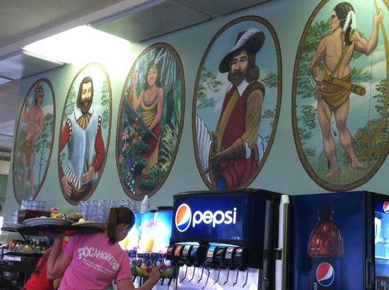 Pocohantas Dining Room: Walls decorated